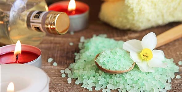Bath salt massage oil and candles for spa 1 590x300